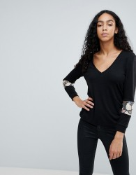 Traffic People Jumper With Sequin Insert - Black