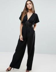 Traffic People Kimono Sleeve Jumpsuit With Embellished Waist Detail - Black