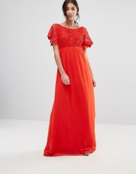 Traffic People Lace Capped Sleeve Maxi Dress - Red