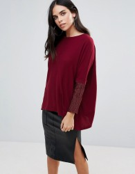Traffic People Light Knit Jumper With Contrast Sleeves - Red