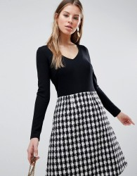 Traffic People Long Sleeve 2-in-1 Skater Dress With Checked Skirt - Black