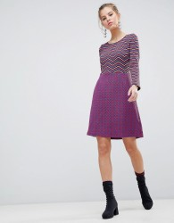 Traffic People Long Sleeve 2-in-1 Skater Dress With Stripped Top - Black