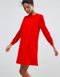 Traffic People Long Sleeve Shift Dress - Red