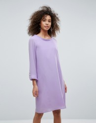 Traffic People Long Sleeve Shift Dress With Frill Detail - Purple