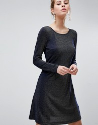 Traffic People Long Sleeve Skater Dress - Navy