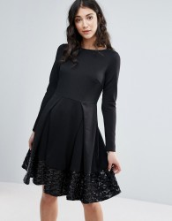 Traffic People Long Sleeve Skater Dress With Pleat Detail - Black