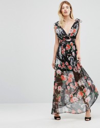 Traffic People Maxi Dress In Woodland Print - Black
