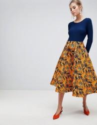 Traffic People Midi Dress With Contrast Printed Skirt - Multi
