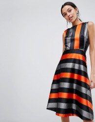 Traffic People Midi Stripe Dress - Orange