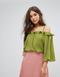 Traffic People Off The Shoulder 3/4 Sleeve Top - Green
