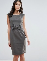 Traffic People Pencil Dress With Bow Detail - Grey