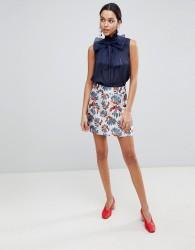 Traffic People Printed Jacquard A Line Mini Skirt - Blue