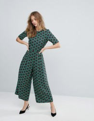 Traffic People Printed Tailored Jumpsuit - Green