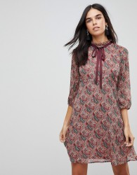 Traffic People Printed Tea Dress With Bow Detail - Red