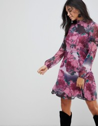Traffic People Ruffle Neck Skater Dress In Rose Print - Purple