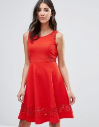 Traffic People Skater Dress With Lace Insert - Red