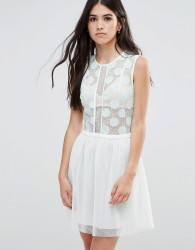 Traffic People Skater Dress With Polka Dot Mesh Top And Mesh Skirt - Blue