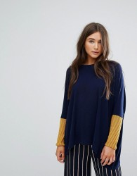 Traffic People Slouchy Jumper With Contrast Sleeves - Multi