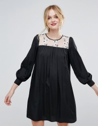 Traffic People Smock Dress With Floral Embroidered Panel - Black
