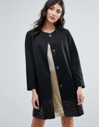 Traffic People Straight Coat With Jacquard Hem - Black