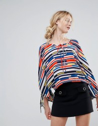 Traffic People Striped Boatneck Top - Red