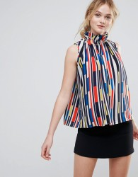 Traffic People Striped High Neck Top - Red