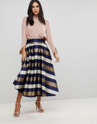 Traffic People Striped Prom Skirt - Multi
