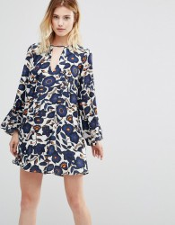 Traffic People Swing Dress With Cut Out Neckline - Navy