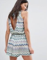 Traffic People Swirl Print Dress With Tie Back - Blue