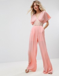 Traffic People Tailored Jumpsuit With Embellished Waistband - Pink