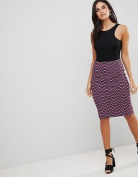 Traffic People Textured Printed Pencil Skirt - Multi