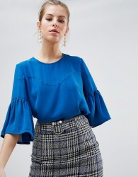 Traffic People Top With Flute Sleeves - Blue