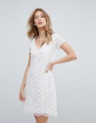 Traffic People V Neck Lace Shift Dress - White