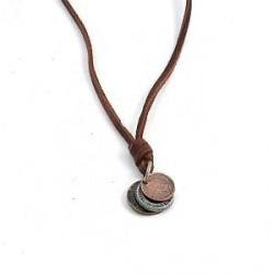 Trendhim 3 Mønter Læderhalskæde