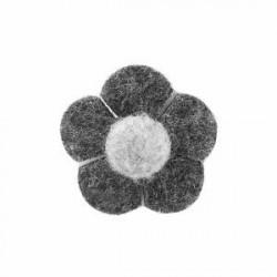 Trendhim Reversnål med Blomst i To Grå Nuancer