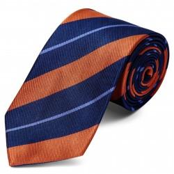 Trendhim Silkeslips med Orange, Marineblå og Pastelblå Striber 8 cm