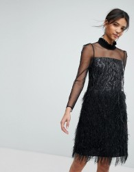 Tresophie Jaquard Metallic Dress With Fringing Dress - Black