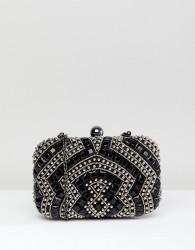 True Decadence Black Beaded Embellished Box Clutch Bag - Black