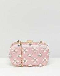 True Decadence Blush Embellished Pearl Box Clutch Bag - Pink