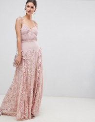 True Decadence Cami Strap Maxi Dress With Lace Insert Skirt - Pink