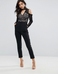 True Decadence Cold Shoulder Lace Top Jumpsuit With Ruffle Sleeves - Black
