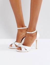 True Decadence Cross Strap Heeled Sandals - White