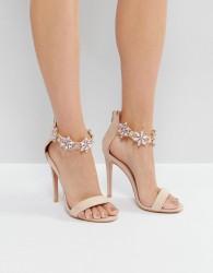 True Decadence Embellished Ankle Strap Heeled Sandals - Pink