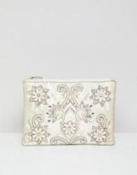 True Decadence Embellished Zip Top Clutch - Cream