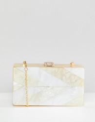 True Decadence Faux Shell Box Clutch Bag - Cream