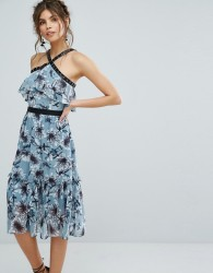 True Decadence Floral Midi Dress With Peplum Hem And Eyelet Detail - Multi