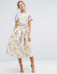 True Decadence Floral Midi Skirt in Jacquard Co Ord - Cream