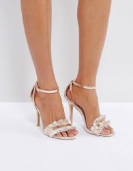 True Decadence Frill Rose Gold Barely There Heeled Sandals - Gold