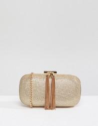 True Decadence Glitter Clutch Bag With Tassel Detail - Gold