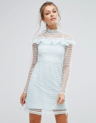True Decadence High Neck Lace Mini Dress With Long Sleeves And Ruffle Details - Green